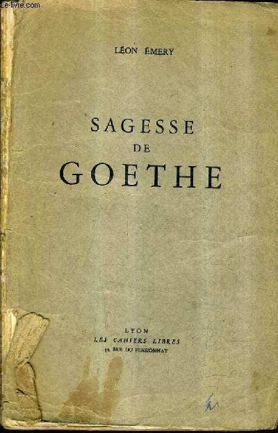 SAGESSE DE GOETHE