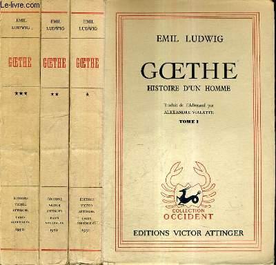 GOETHE HISTOIRE D'UN HOMME - EN 3 TOMES - TOMES 1 + 2 + 3.