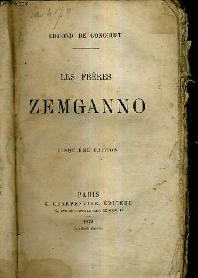 LES FRERES ZEMGANNO / 5E EDITION.