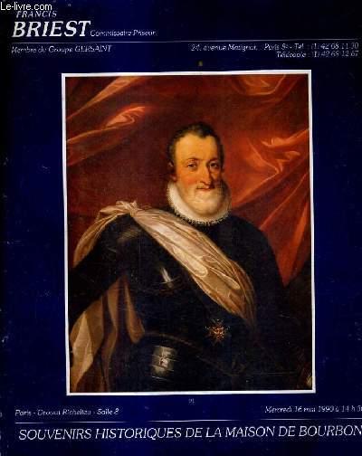 CATALOGUE DE VENTES AUX ENCHERES - SOUVENIRS HISTORIQUES DE LA MAISON DE BOURBON - MERCREDI 16 MAI 1990 A 14H30 PARIT DROUOT RICHELIEU SALLE 8.