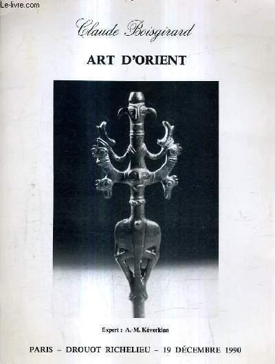CATALOGUE DE VENTE AUX ENCHERES - ART D'ORIENT - PARIS HOTEL DROUOT SALLE 11 - MERCREDI 19 DECEMBRE 1990 A 14H30.