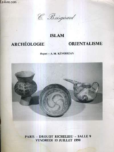 CATALOGUE DE VENTE AUX ENCHERES - ART D'ORIENT ARCHEOLOGIE ISLAM ORIENTALISME TEXTILES COPTES - VENDREDI 13 JUILLET 1990 A 14H30 - HOTEL DROUOT SALLE 9.