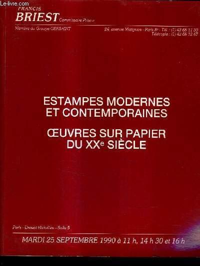 CATALOGUE DE VENTE AUX ENCHERES - ESTAMPES MODERNES - ESTAMPES CONTEMPORAINES - OEUVRES SUR PAPIER DU XXE SIECLE - DROUOT RICHELIEU SALLE 5 25 SEPTEMBRE 1990.