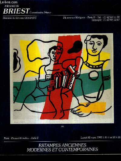 CATALOGUE DE VENTE AUX ENCHERES - ESTAMPES ANCIENNES MODERNES ET CONTEMPORAINES ENSEMLES EXCEPTIONNELS D'OEURES DE CAMILLE BRYEN ET DE REVUES DERRIERE LE MIROIR 1946-1981 - DROUOT RICHELIEU SALLE 2 30 MARS 1992.