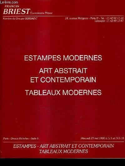 CATALOGUE DE VENTE AUX ENCHERES - ESTAMPES MODERNES ART ABSTRAIT ET CONTEMPORAIN TABLEAUX MODERNES - DROUOT RICHELIEU SALLE 5 23 MAI 1990.