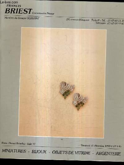 CATALOGUE DE VENTE AUX ENCHERES - MINIATURES BIJOUX OBJETS DE VITRINE ARGENTERIE - PARIS DROUOT RICHELIEU - 21 DECEMBRE 1990 SALLE 12.