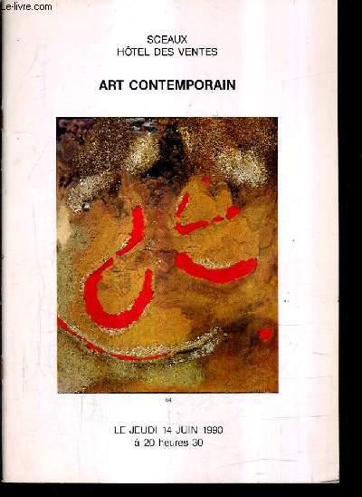 CATALOGUE DE VENTES AUX ENCHERES - ART CONTEMPORAIN - JEUDI 14 JUIN 1990 A 20H30.