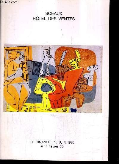 CATALOGUE DE VENTES AUX ENCHERES - ESTAMPES DESSINS AQUARELLES TABLEAUX ANCIENS ET MODERNES - BIJOUX ET ARGENTERIE - MOBILIER - 10 JUIN 1990.