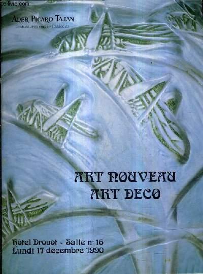 CATALOGUE DE VENTES AUX ENCHERES - ART NOUVEAU ART DECO - PARIS HOTEL DROUOT SALLE 16 - 17 DECEMBRE 1990.