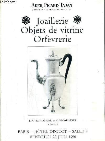 CATALOGUE DE VENTES AUX ENCHERES - JOAILLERIE OBJETS DE VITRINE ORFEVRERIE - PARIS HOTEL DROUOT SALLE 9 - 22 JUIN 1990.