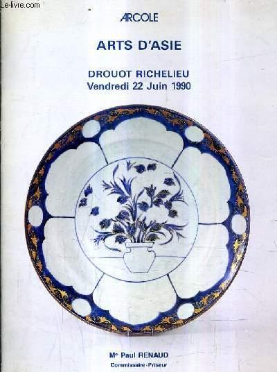 CATALOGUE DE VENTES AUX ENCHERES - ARTS D'ASIE - DROUOT RICHELIEU - 22 JUIN 1990.