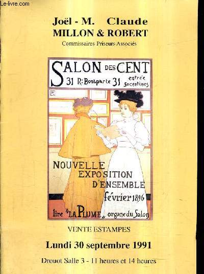 CATALOGUE DE VENTES AUX ENCHERES - VENTE ESTAMPES - 30 SEPTEMBRE 1991 - DROUOT SALLE 3 .