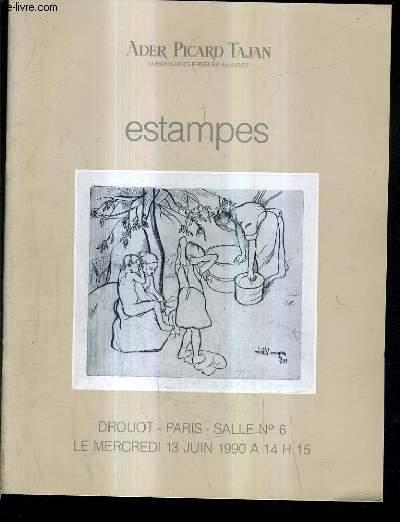 CATALOGUE DE VENTES AUX ENCHERES - ESTAMPES - ECOLES ANCIENNES - PORTRAITS PIECES HISTORIQUES SPORTS VUES ET CARTES DE FRANCE ET DE L'ETRANGER - DROUOT SALLE 6 3 JUIN 1990.