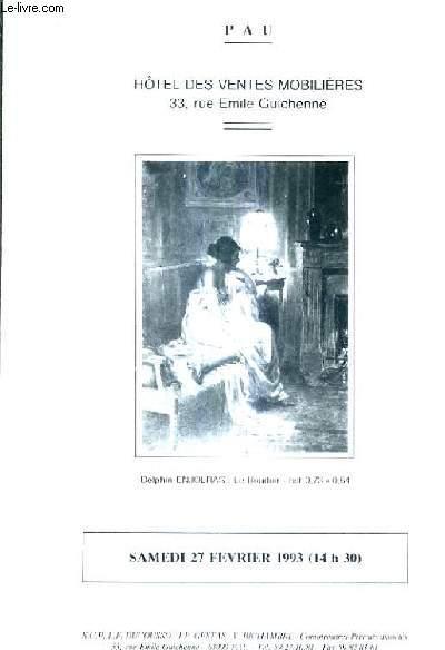PLAQUETTE DEPLIANTE DE VENTES AUX ENCHERES - BEL AMEUBLEMENT DES XVIIIE ET XIXE SIECLES SIEGES TABLEAUX BIBELOTS OBJETS DE VITRINE ARGENTERIE PENDULES TAPISSERIES D'AUBUSSON XVIIE TAPIS D'ORIENT - HOTEL DES VENTES MOBILIERES PAU - 27 FEVRIER 1993.