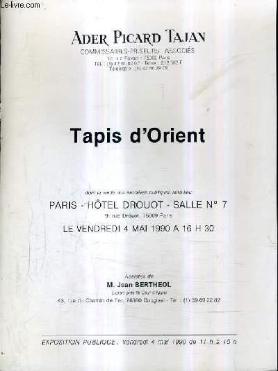 FASCICULE DE VENTES AUX ENCHERES - TAPIS D'ORIENT - PARIS HOTEL DROUOT SALLE 7 - 4 MAI 1990.