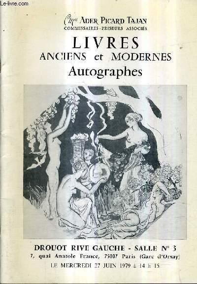 CATALOGUE DE VENTES AUX ENCHERES - LIVRES ANCIENS LIVRES DES XIXE ET XXE SIECLES - DROUOT RIVE GACUHE SALLE 3 - 27 JUIN 1979.