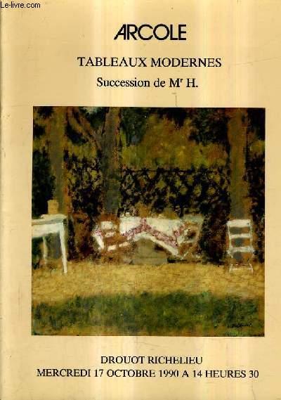 CATALOGUE DE VENTES AUX ENCHERES - TABLEAUX MODERNES SCULPTURES SUCCESSION H ... ET TUTELLE L... - DROUOT RICHELIEU SALLE 10 - 17 OCTOBRE 1990.