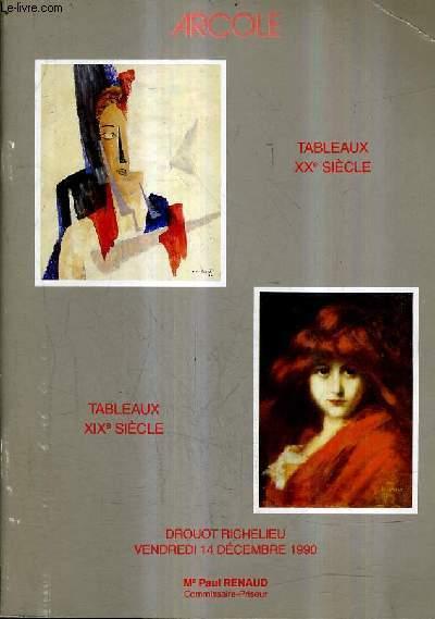 CATALOGUE DE VENTES AUX ENCHERES - TABLEAUX MODERNES TABLEAUX XIXE SIECLE - DROUOT RICHELIEU SALLE 14 - 14 DECEMBRE 1990.