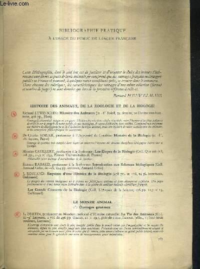 BIBLIOGRAPHIE ZOOLOGIQUE DES OUVRAGES EN LANGUE FRANCAISE EN VENTE EN 1953.