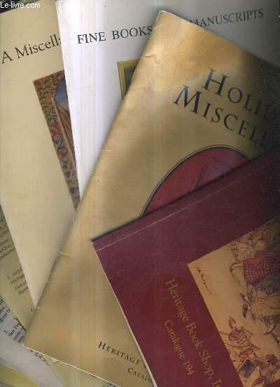 LOT DE 10 CATALOGUES ANGLAIS DE LA LIBRAIRIE HERITAGE BOOK SHOP .