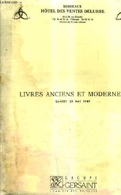 CATALOGUE DE VENTES AUX ENCHERES - LIVRES ANCIENS ET MODERNES EN DIFFERENTS GENRES - BORDEAUX HOTEL DES VENTES DELURBE - 20 MAI 1989.