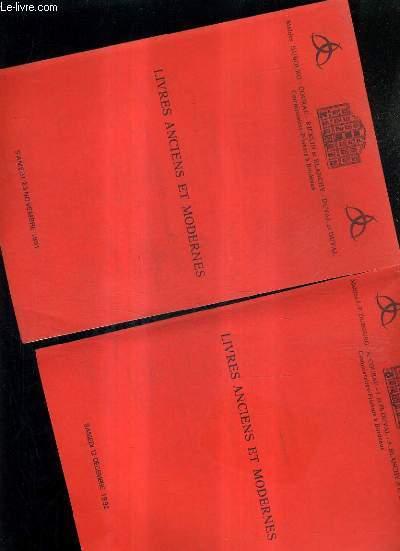 LOT DE 2 CATALOGUES DE VENTES AUX ENCHERES - LIVRES ANCIENS ET MODERNES - BORDEAIX HOTEL DES VENTES DES CHARTRONS - 12 DECEMBRE 1992 + 23 NOVEMBRE 1991.