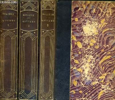 OEUVRES COMPLETES DE MOLIERE EDITION VARIORUM PRECEDEE D'UN PRECIS DE L'HISTOIRE DU THEATRE EN FRANCE DE LA BIBLIOGRAPHIE DE MOLIERE RECTIFIEE - EN 3 TOMES - TOMES 1 + 2 + 3.