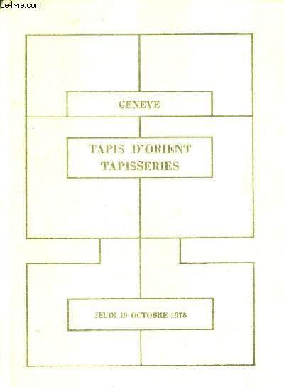 CATALOGUE DE VENTES AUX ENCHERES - EXCEPTIONNEL ENSEMBLE DE TAPIS ISLAMIQUES ET TAPISSERIES - HOTEL INTERCONTINENTAL GENEVE - 19 OCTOBRE 1978.