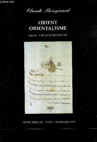 CATALOGUE DE VENTES AUX ENCHERES - ORIENT ORIENTALISME - PARIS HOTEL DROUOT SALLE 9 - 30 JANVIER 1999.