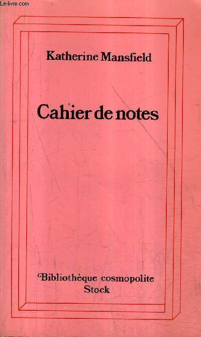 CAHIER DE NOTES - COLLECTION BIBLIOTHEQUE COSMOPOLITE N°66.