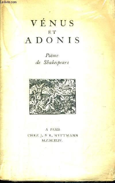 VENUS ET ADONIS - POEME DE SHAKESPEARE.