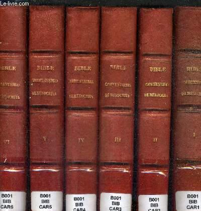 SAINTE BIBLE CONTENANT L'ANCIEN ET LE NOUVEAU TESTAMENT AVEC UNE TRADUCTION FRANCAISE EN FORME DE PARAPHRASE ET LES COMMENTAIRES DE MENOCHUS - EN 6 TOMES - TOMES 1 A 6 .