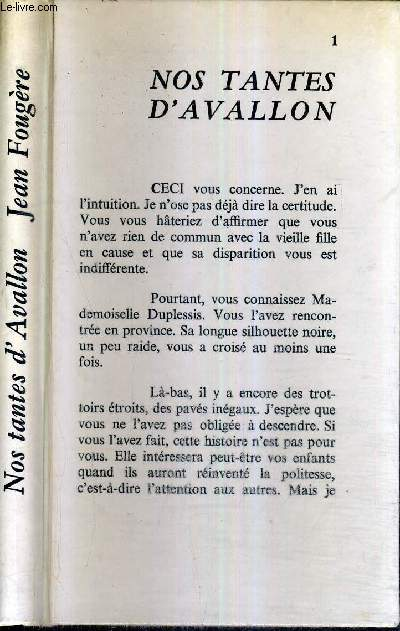 NOS TANTES D'AVALLON + ENVOI DE L'AUTEUR.