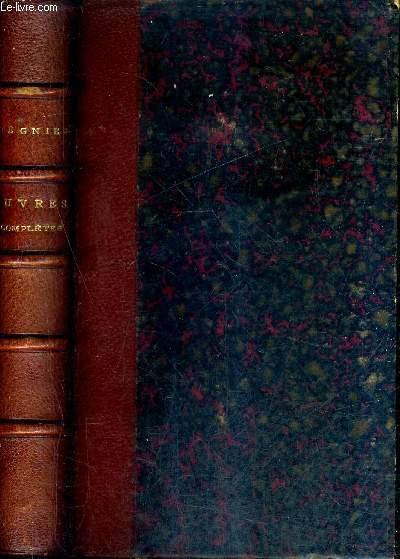 OEUVRES COMPLETES DE REGNIER - NOUVELLE EDITION AVEC LE COMMENTAIRE DE BROSSETTE PUBLIE EN 1729 DES NOTES LITTERAIRES UN INDEX DES MOTS VIEILLIS OU HORS D'USAGE ET UNE ETUDE BIOGRAPHIQUE ET LITTERAIRE PAR PROSPER POITEVIN.