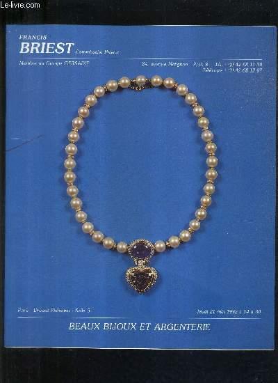 CATALOGUE DE VENTES AUX ENCHERES - BEAUX BIJOUX ET ARGENTERIE - 21 MAI 1992 - DROUOT RICHELIEU SALLE 3 .