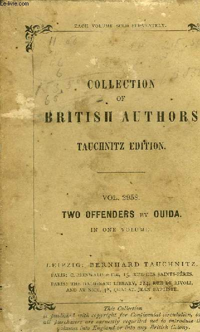 TWO OFFENDERS - COLLECTION OF BRITISH AUTHORS TAUCHNITZ EDITION VOL 2958.