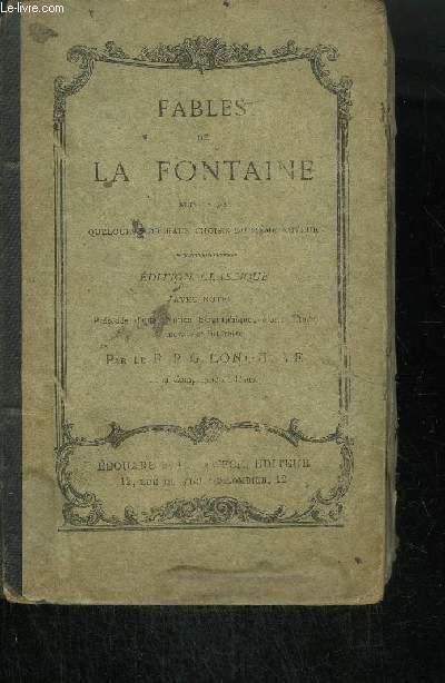 FABLES DE LA FONTAINE SUIVIES DE QUELQUES MORCEAUX CHOISIS DU MEME AUTEUR - EDITION CLASSIQUE - 15ieme édition
