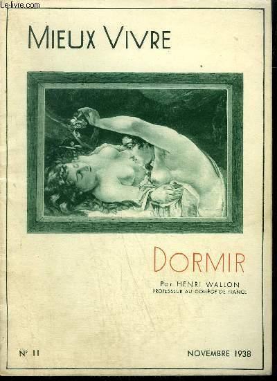 FASCICULE MIEUX VIVRE N°11 NOVEMBRE 1938 - DORMIR
