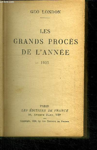 LES GRANDS PROCES DE L'ANNEE 1935