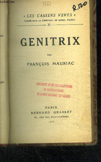 GENITRIX / COLLECTION LES CAHIERS VERTS N°30