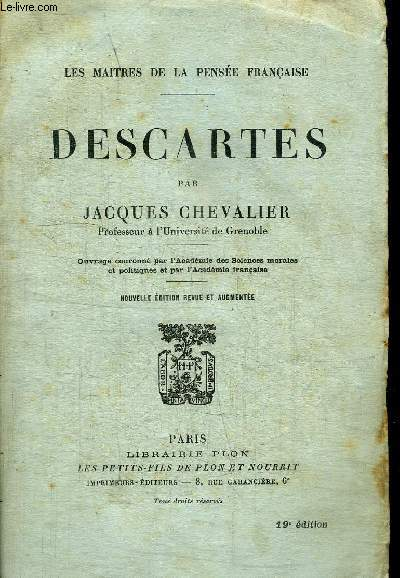 DESCARTES / COLLECTION LES MAITRES DE LA PENSEE FRANCAISE