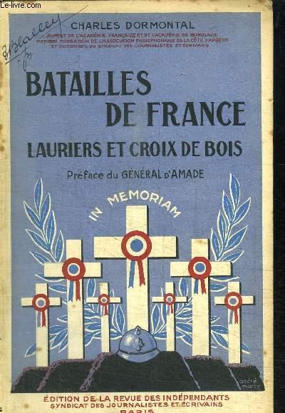 BATAILLES DE FRANCE - LAURIERS ET CROIX DE BOIS
