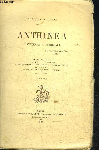 ANTHINEA D'ATHENES A FLORENCE / 16e EDITION