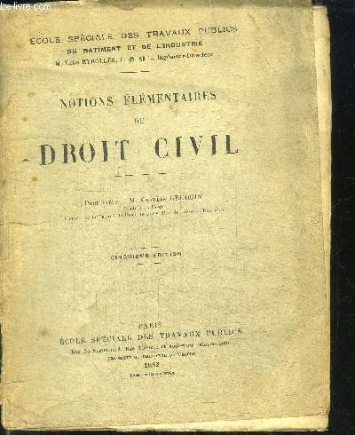 NOTIONS ELEMENTAIRES DE DROIT CIVIL / 5e EDITION
