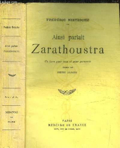 AINSI PARLAIT ZARATHOUSTRA / 63e EDITION