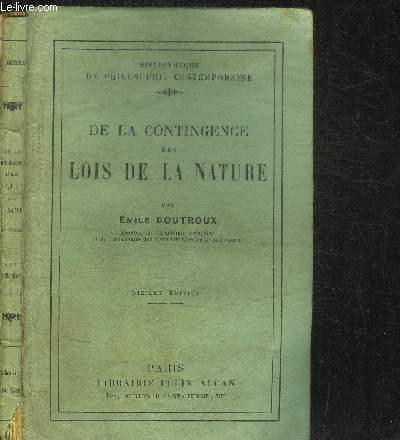DE LA CONTINGENCE DES LOIS DE LA NATURE / COLLECTION BIBIOTHEQUE DE PHILOSOPHIE CONTEMPORAINE - 10e EDITION