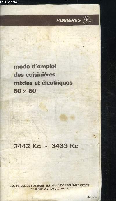 MODE D'EMPLOI DES CUISINIERES MIXTES ET ELECTRIQUES 50 X 50 - 3442 Kc - 3433 Kc