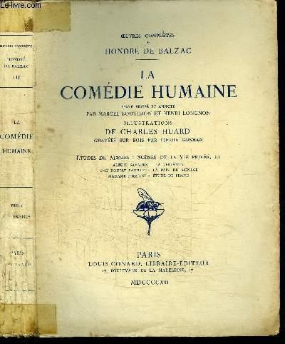 OEUVRES COMPLETES DE HONORE DE BALZAC - TOME 3 - LA COMEDIE HUMAINE
