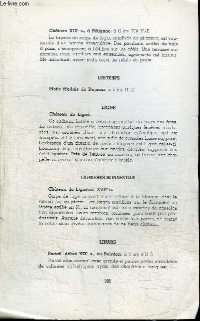 EXTRAIT : MEMOIRES DE LA SOCIETE ARCHEOLOGIQUE ET HISTORIQUE DE LA CHARENTE - Anciens chateaux manoirs et logis de la Charente