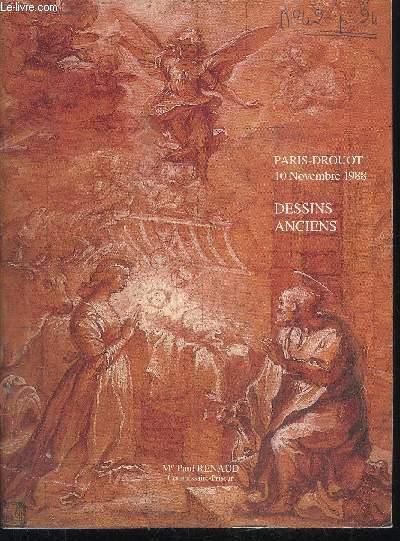 CATALOGUE DE VENTE AUX ENCHERES : DESSINS ANCIENS - VENTE DROUOT RICHELIEU - 10 NOVEMBRE 1988